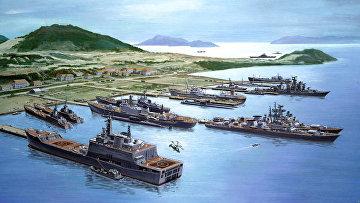 Залив Камрань с советскими военным флотом. Плакат 1985 года.