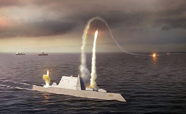 Эскиз: пуск ракет с вертикальных шахт эсминца Zumwalt