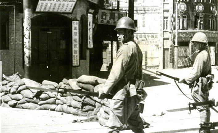 Японские солдаты в Тяньцзине, Японо-китайская война 1937-1945 годов