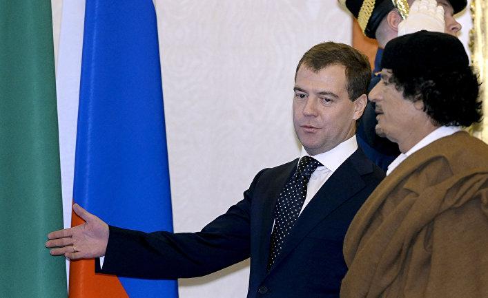 Встреча Дмитрия Медведева и Муамара Каддафи