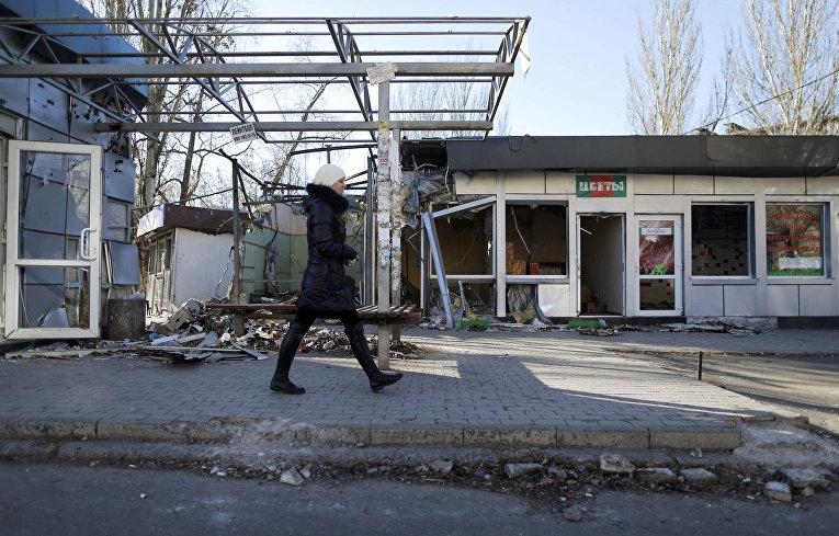 Разрушенные магазины в Донецке