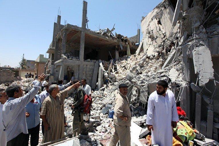 удар НАТО уничтожил один многоквартирный дом в Триполи