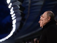 Владимир Путин и Томас Бах (справа налево) на церемонии открытия XXII зимних Олимпийских игр в Сочи.