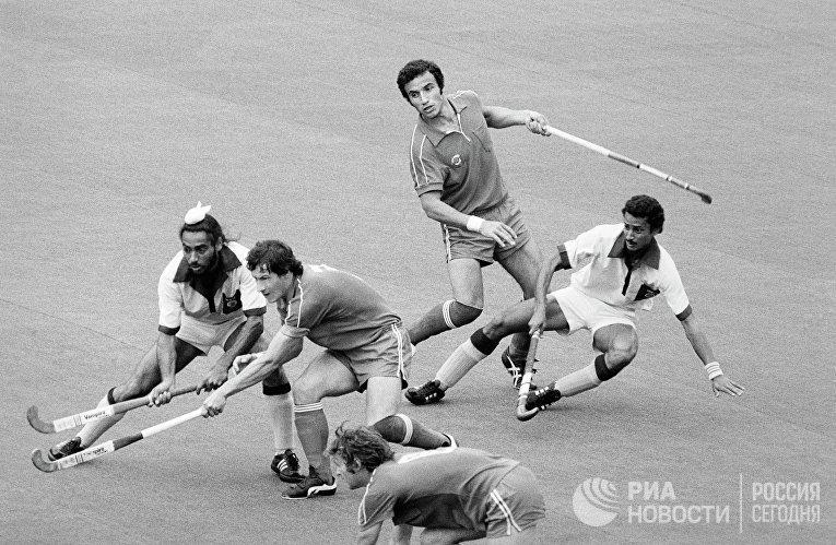 Встреча по хоккею на траве между командами СССР и Индии