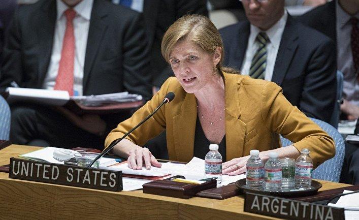 Саманта Пауэр на заседании Совета безопасности ООН, посвященном украинскому кризису