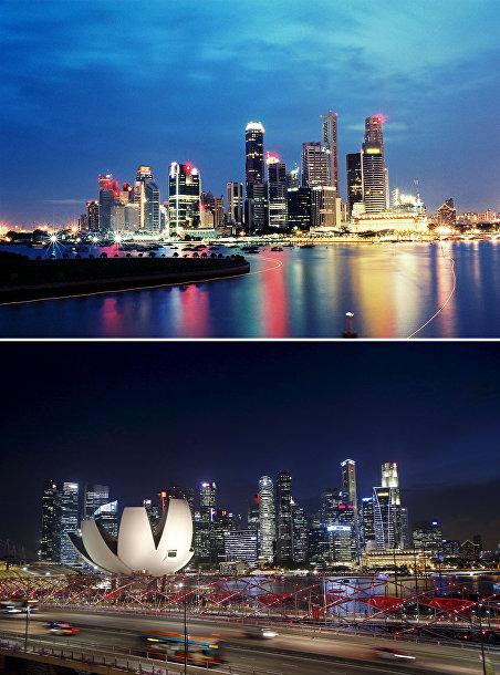Деловой центр Сингапура в 2004 и 2015 годах