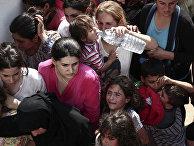 Мигранты ждут регистрации на стадионе на острове Кос