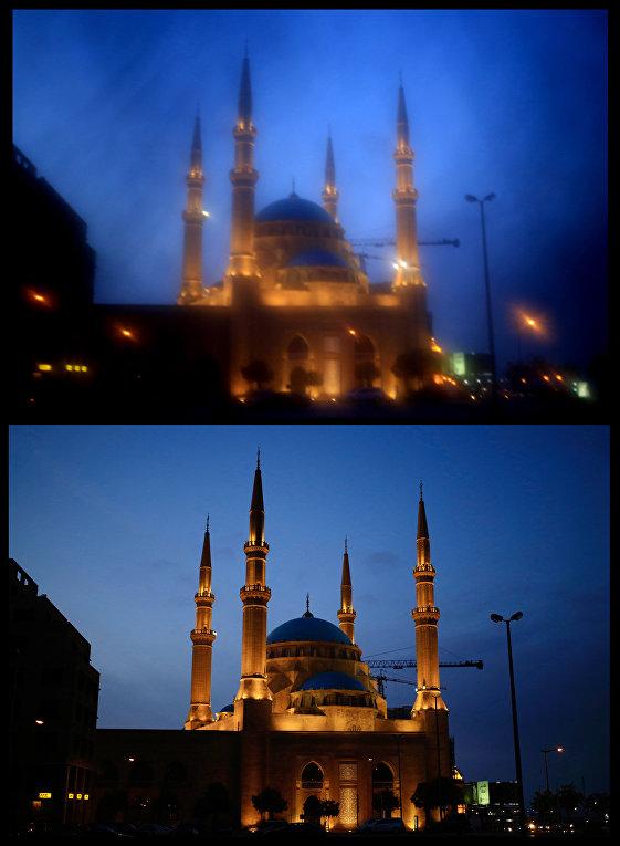 Мечеть Мухаммада аль-Амина в Бейруте, сфотографированная через никаб и без него