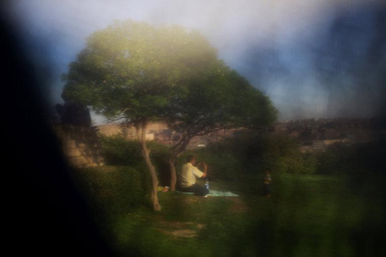 Парк в Каире, фотография сделана через никаб