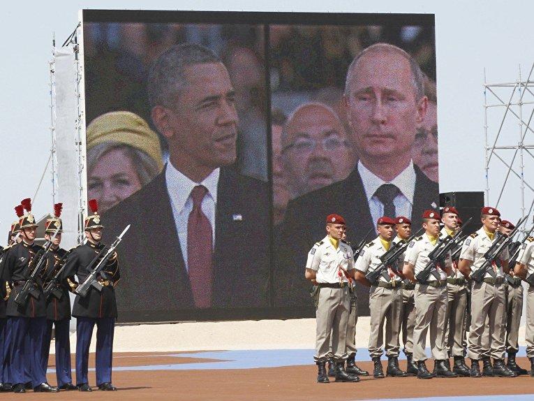 Владимир Путин и Барак Обама на праздновании 70-летия высадки в Нормандии
