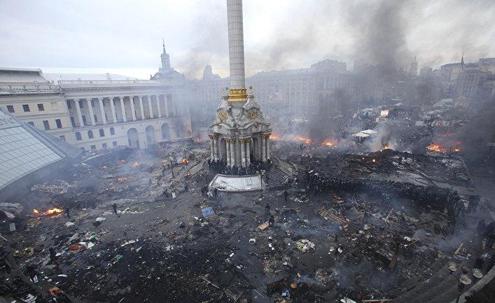 Площадь Независимости в Киеве 19 февраля 2014 года