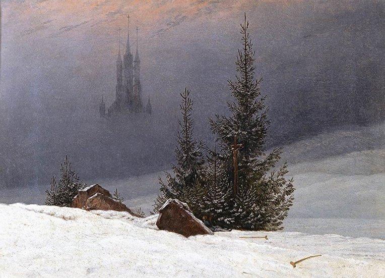 Каспар Давид Фридрих «Зимний пейзаж с церковью» (1811)