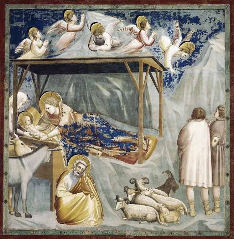 Джотто «Рождение Христа» (1303-1305), из цикла 36 фресок с изображением юности Христа и Страстей в капелле Скровеньи