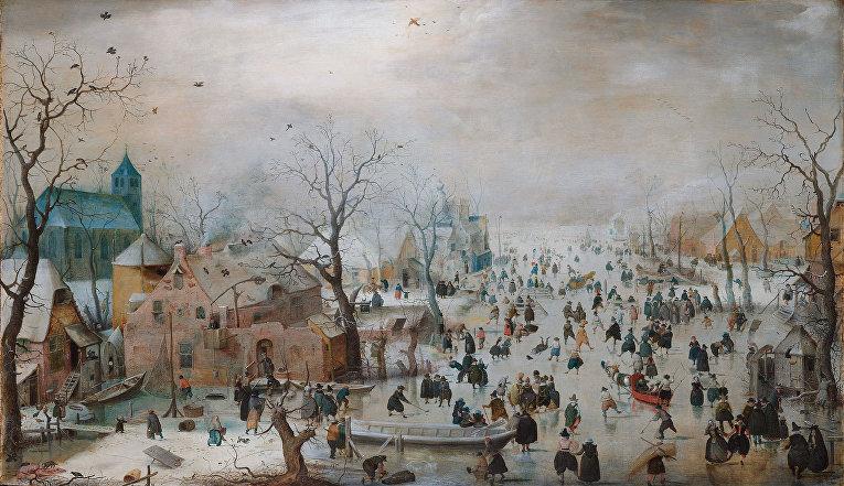 Хендрик Аверкамп «Зимний пейзаж с конькобежцами» (1609)