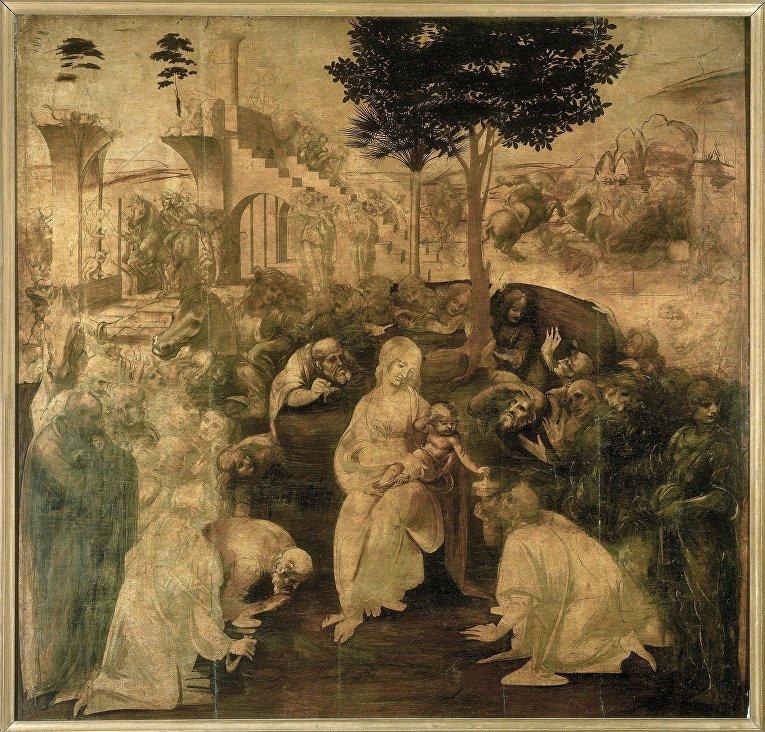 Леонардо да Винчи «Поклонение волхвов» (1481)