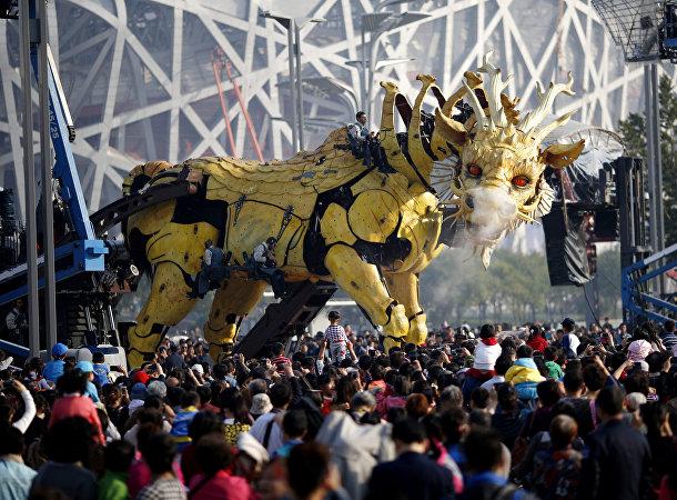 Дракон лунма в представлении от компании La Machine в Пекине