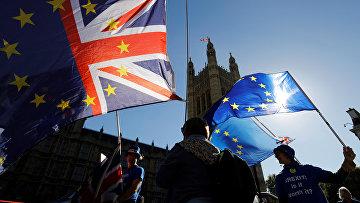 Акция протеста противников брексита на Парламентской площади в Лондоне