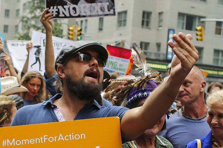 Леонардо Ди Каприо на марше против изменения климата в Нью-Йорке