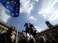 Акция протеста на площади Пьяцца дель Кампидольо в Риме