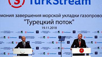 Президент России Владимир Путин и президент Турции Реджеп Тайип Эрдоган на церемонии, посвященной завершению строительства морской части газопровода TurkStream