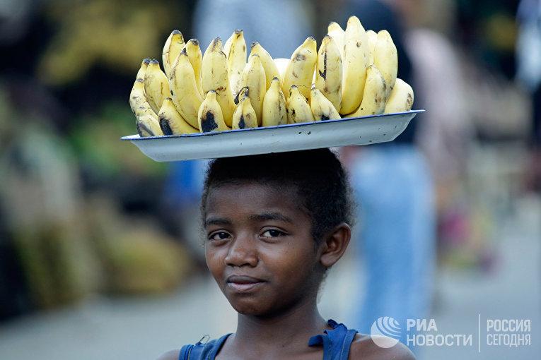 Юный житель города Андасибе, расположенного на острове Мадагаскар