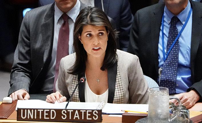 Постоянный представитель США при ООН Никки Хейли на заседании Совета Безопасности ООН о ситуации в Крыму