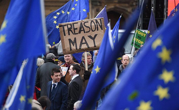 Акция протеста у здания парламента в Лондоне