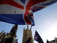 Протестующие у здания парламента Великобритании в Лондоне