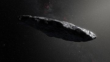 Комета 1I/Оумуамуа в представлении художника
