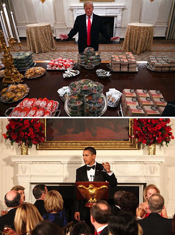 Президент США Барак Обама / Президент США Дональд Трамп