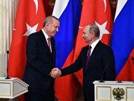Встреча президента РФ В. Путина с президентом Турции Р. Т. Эрдоганом