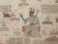 Манса Муса на троне с золотой монетой в руке