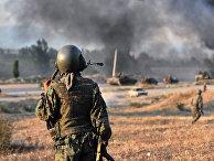 Грузинские солдаты недалеко от Гори 11 августа 2008 года