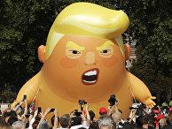 Надувная кукла президента США Дональда Трампа во время акции протеста против его визита в Великобританию в Лондоне