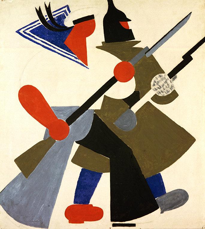 Владимир Лебедев. Красная армия и флот. 1920. Бумага, гуашь
