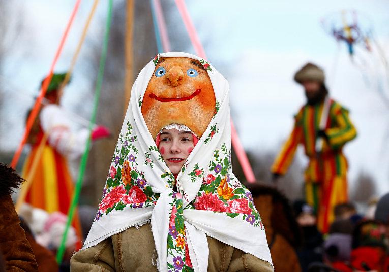 Празднование Масленицы в селе Озерко, Белоруссия