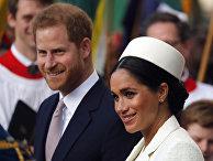 Герцогиня Сассекская Меган и британский принц Гарри в Вестминстерском аббатстве