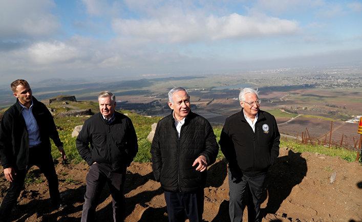 Премьер-министр Израиля Биньямин Нетаньяху, сенатор США Линдси Грэм и посол США в Израиле Дэвид Фридман