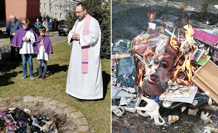"""Священники из польского фонда """"СМС с неба"""" сжигают книги"""