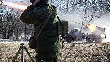 Обстрел позиций украинских сил в Горловке