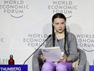 Экологический активист Грета Тунберг произносит речь на Всемирном экономическом форуме в Давосе
