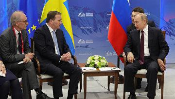 Встреча президента России Владимира Путина и премьер-министра Швеции Стефана Лёвена