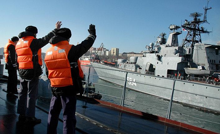 Проводы кораблей Тихоокеанского флота на борьбу с пиратами в район Африканского рога