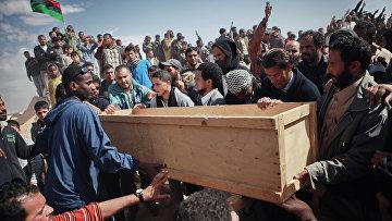 Похороны жертв атаки наемников Каддафи в Ливии