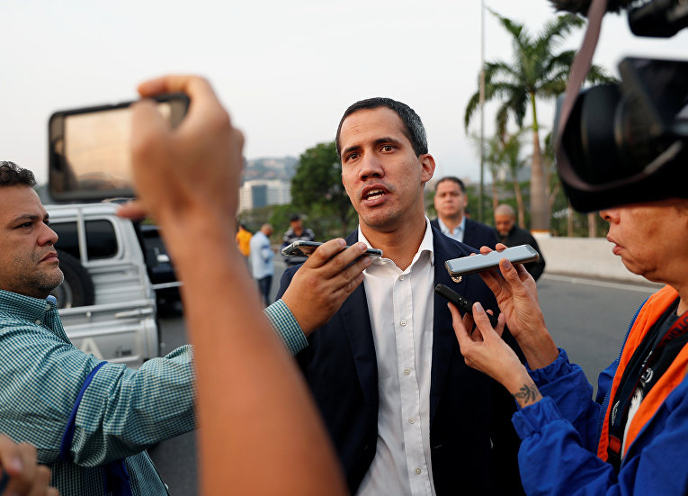 Лидер венесуэльской оппозиции Хуан Гуайдо в Каракасе