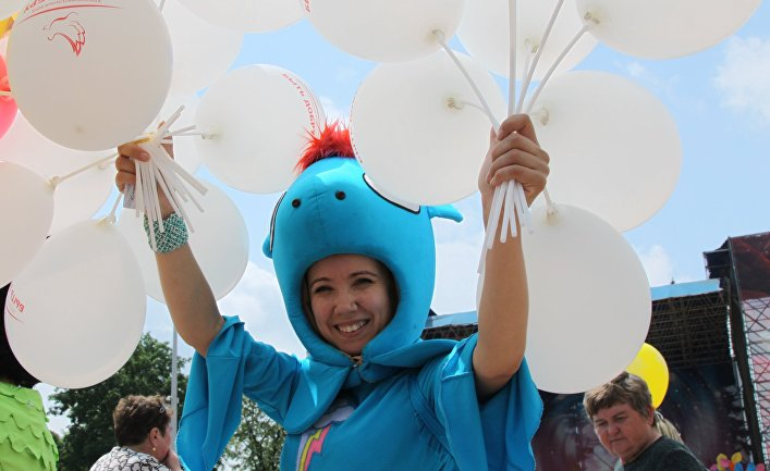Празднование Дня защиты детей в Донецке