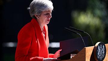 Тереза Мэй плачет во время заявления об отставке в Лондоне, Великобритания