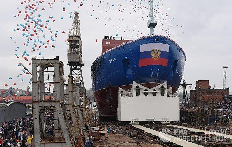"""Cпуск на воду атомного ледокола """"Урал"""" в Санкт-Петeрбурге"""