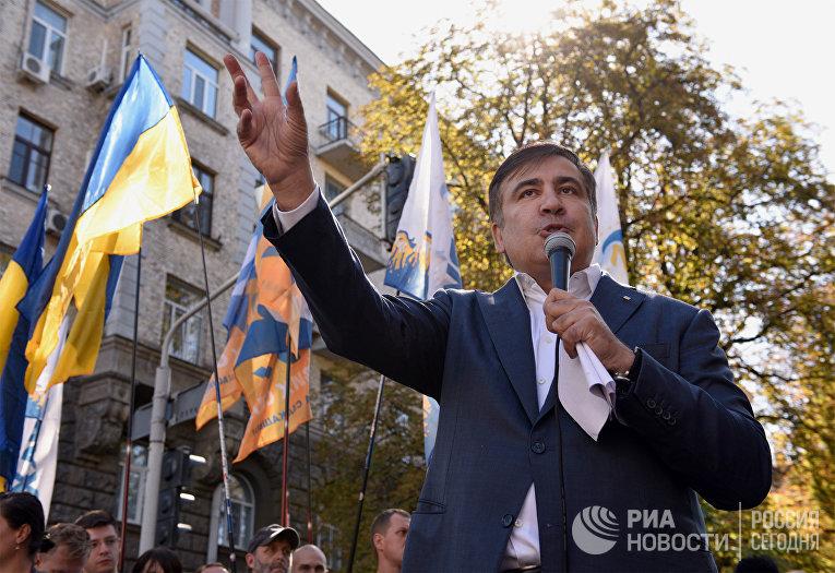 Михаил Саакашвили во время выступления в Киеве. 19 сентября 2017