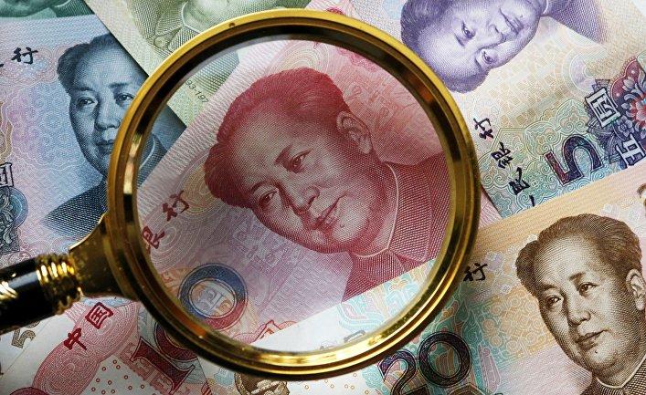 Китайские банкноты номиналом в 100, 50, 20,10 и 5 юаней
